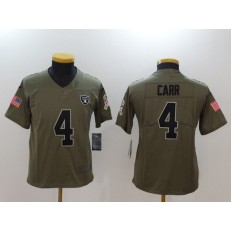 Youth Nike Oakland Raiders #4 Derek Carr Olive Salute To Service Limited NFL Jersey