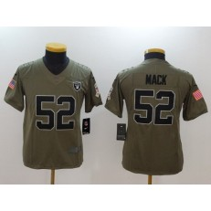 Youth Nike Oakland Raiders #52 Khalil Mack Olive Salute To Service Limited NFL Jersey