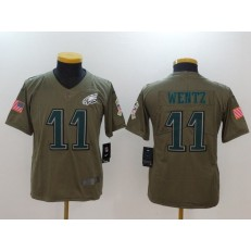 Youth Nike Philadelphia Eagles #11 Carson Wentz Olive Salute To Service Limited NFL Jersey