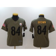 Youth Nike Pittsburgh Steelers #84 Antonio Brown Olive Salute To Service Limited NFL Jersey