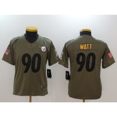 Youth Nike Pittsburgh Steelers #90 T.J. Watt Olive Salute To Service Limited NFL Jersey
