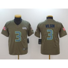 Youth Nike Seattle Seahawks #3 Russell Wilson Olive Salute To Service Limited NFL Jersey