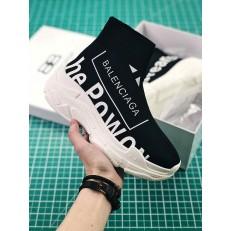 BALENCIAGA KNIT SPEED TRAINER SNEAKERS PRINTED POWER OF DREAMS BLACK