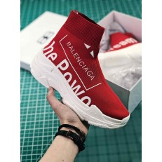 BALENCIAGA KNIT SPEED TRAINER SNEAKERS PRINTED POWER OF DREAMS RED