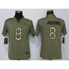 Women Nike Baltimore Ravens #8 Lamar Jackson Olive Camo Salute To Service Limited NFL Jersey