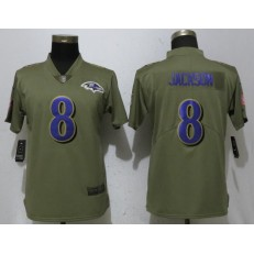 Women Nike Baltimore Ravens #8 Lamar Jackson Olive Salute To Service Limited NFL Jersey