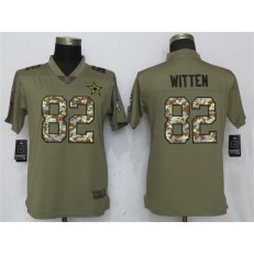 Women Nike Dallas Cowboys #82 Jason Witten Olive Camo Salute To Service Limited NFL Jersey