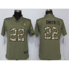 Women Nike Minnesota Vikings #22 Harrison Smith Olive Camo Salute To Service Limited NFL Jersey