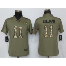 Women Nike New England Patriots #11 Julian Edelman Olive Camo Salute To Service Limited NFL Jersey