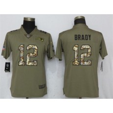 Women Nike New England Patriots #12 Tom Brady Olive Camo Salute To Service Limited NFL Jersey