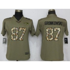 Women Nike New England Patriots #87 Rob Gronkowski Olive Camo Salute To Service Limited NFL Jersey
