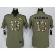 Women Nike New York Giants #13 Odell Beckham Jr Olive Camo Salute To Service Limited NFL Jersey