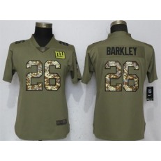 Women Nike New York Giants #26 Saquon Barkley Olive Camo Salute To Service Limited NFL Jersey