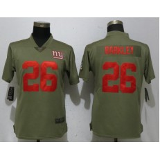 Women Nike New York Giants #26 Saquon Barkley Olive Salute To Service Limited NFL Jersey