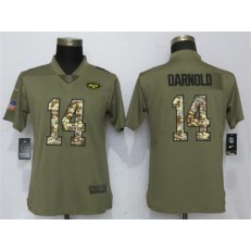 Women Nike New York Jets #14 Sam Darnold Olive Camo Salute To Service Limited NFL Jersey