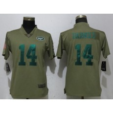 Women Nike New York Jets #14 Sam Darnold Olive Salute To Service Limited NFL Jersey