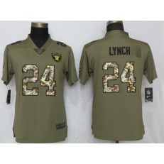 Women Nike Oakland Raiders #24 Marshawn Lynch Olive Camo Salute To Service Limited NFL Jersey