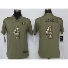 Women Nike Oakland Raiders #4 Derek Carr Olive Camo Salute To Service Limited NFL Jersey