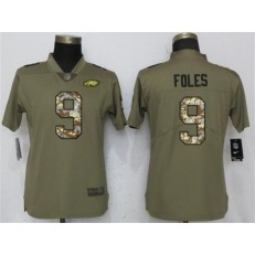 Women Nike Philadelphia Eagles #9 Nick Foles Olive Camo Salute To Service Limited NFL Jersey