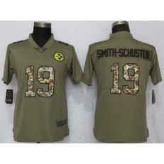 Women Nike Pittsburgh Steelers #19 JuJu Smith-Schuster Olive Camo Salute To Service Limited NFL Jersey