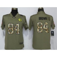 Women Nike Pittsburgh Steelers #84 Antonio Brown Olive Camo Salute To Service Limited NFL Jersey