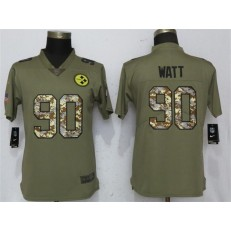 Women Nike Pittsburgh Steelers #90 T.J. Watt Olive Camo Salute To Service Limited NFL Jersey