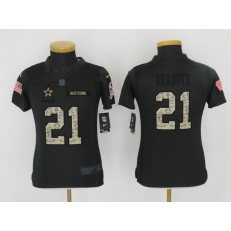 Youth Nike Dallas Cowboys #21 Ezekiel Elliott Anthracite Salute to Service Limited NFL Jersey
