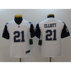 Youth Nike Dallas Cowboys #21 Ezekiel Elliott White Color Rush Limited NFL Jersey