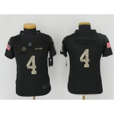 Youth Nike Dallas Cowboys #4 Dak Prescott Anthracite Salute to Service Limited NFL Jersey