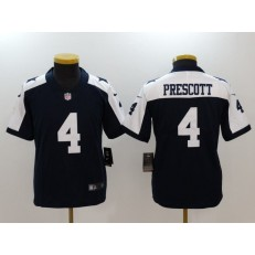 Youth Nike Dallas Cowboys #4 Dak Prescott Navy Throwback Vapor Untouchable Player Limited NFL Jersey