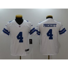 Youth Nike Dallas Cowboys #4 Dak Prescott White Vapor Untouchable Player Limited NFL Jersey