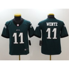 Youth Nike Philadelphia Eagles #11 Carson Wentz Green Vapor Untouchable Limited NFL Jersey