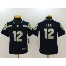 Youth Nike Seattle Seahawks #12 Fan Navy Vapor Untouchable Limited NFL Jersey