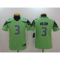 Youth Nike Seattle Seahawks #3 Russell Wilson Green Color Rush Limited NFL Jersey
