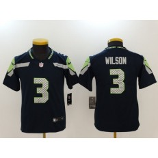 Youth Nike Seattle Seahawks #3 Russell Wilson Navy Vapor Untouchable Limited NFL Jersey
