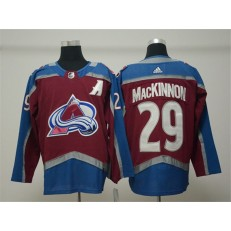 Colorado Avalanche #29 Nathan MacKinnon Burgundy With A Patch Adidas NHL Men Jersey