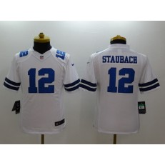 Youth Nike Dallas Cowboys #12 Staubach White Limited Jersey
