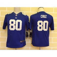 Youth Nike New York Giants #80 Cruz Blue Limited Jersey