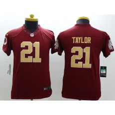 Youth Nike Washington Redskins #21 Taylor Red Golden Number Limited Jersey