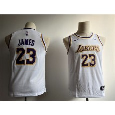 Los Angeles Lakers #23 Lebron James White 2018-19 Nike Swingman Youth Jersey