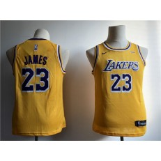 Los Angeles Lakers #23 Lebron James Yellow 2018-19 Nike Swingman Youth Jersey