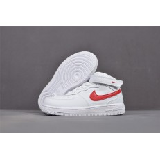 KID'S NIKE AIR FORCE 1 MID WHITE RED 314197-101