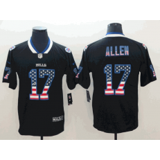Buffalo Bills #17 Josh Allen Black USA Flag Fashion Limited Nike NFL Men Jersey