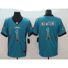 Carolina Panthers #1 Cam Newton Blue Drift Fashion Limited Nike NFL Men Jersey
