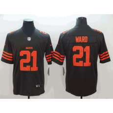 Cleveland Browns #21 T.J. Ward Brown Color Rush Limited Nike NFL Men Jersey