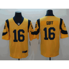 Los Angeles Rams #16 Jared Goff Gold Color Rush Limited Nike NFL Men Jersey