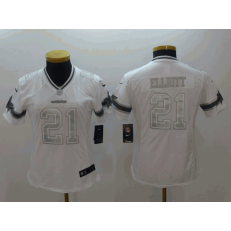 Women Nike Dallas Cowboys #21 Ezekiel Elliott White Platinum Limited Jersey