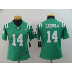 Women Nike New York Jets #14 Sam Darnold Green Color Rush Limited Jersey