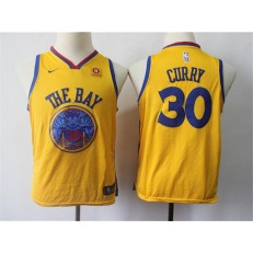 Golden State Warriors #30 Stephen Curry Gold City Edition Nike Swingman Youth Jersey