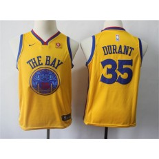 Golden State Warriors #35 Kevin Durant Gold City Edition Nike Swingman Youth Jersey